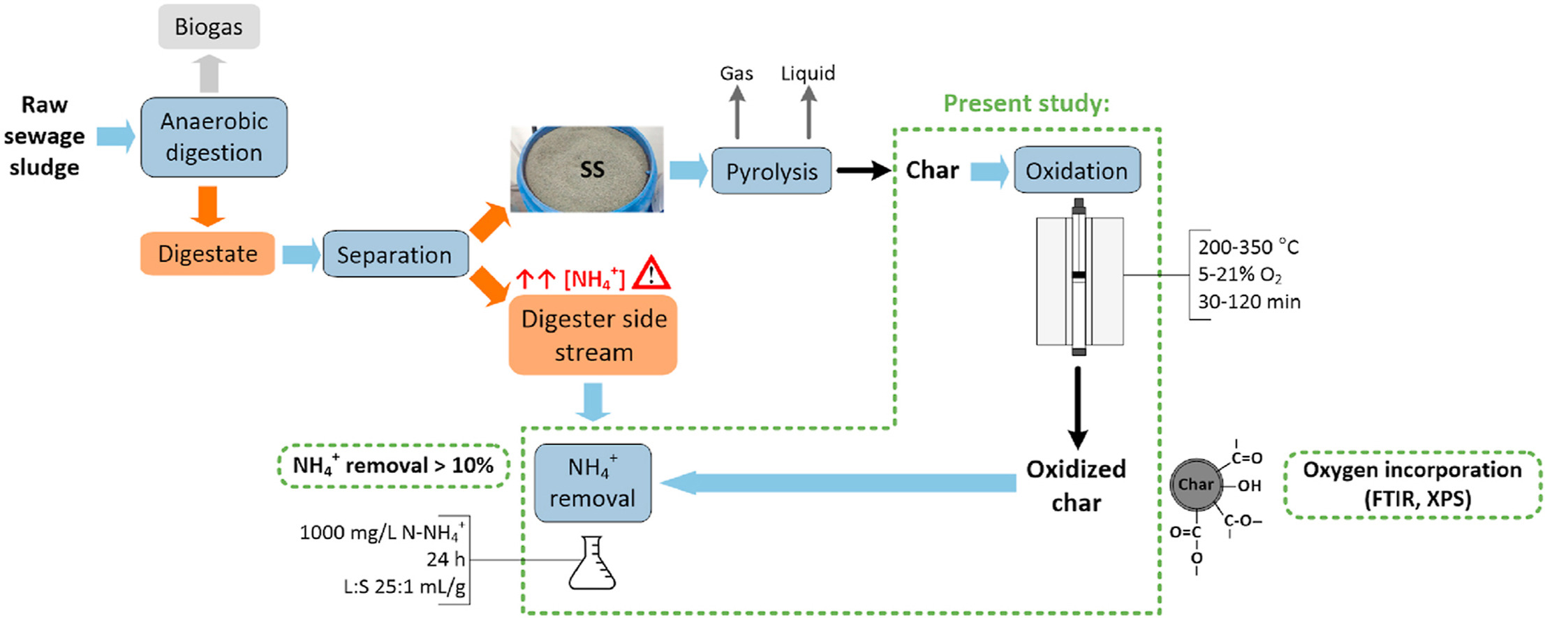Functionalization of sewage sludge char by partial oxidation with O2